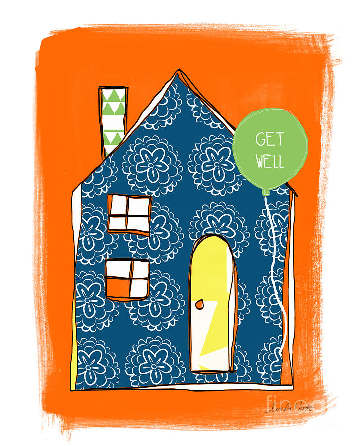 Blue House Get Well Card Mixed Media  - Blue House Get Well Card Fine Art Print