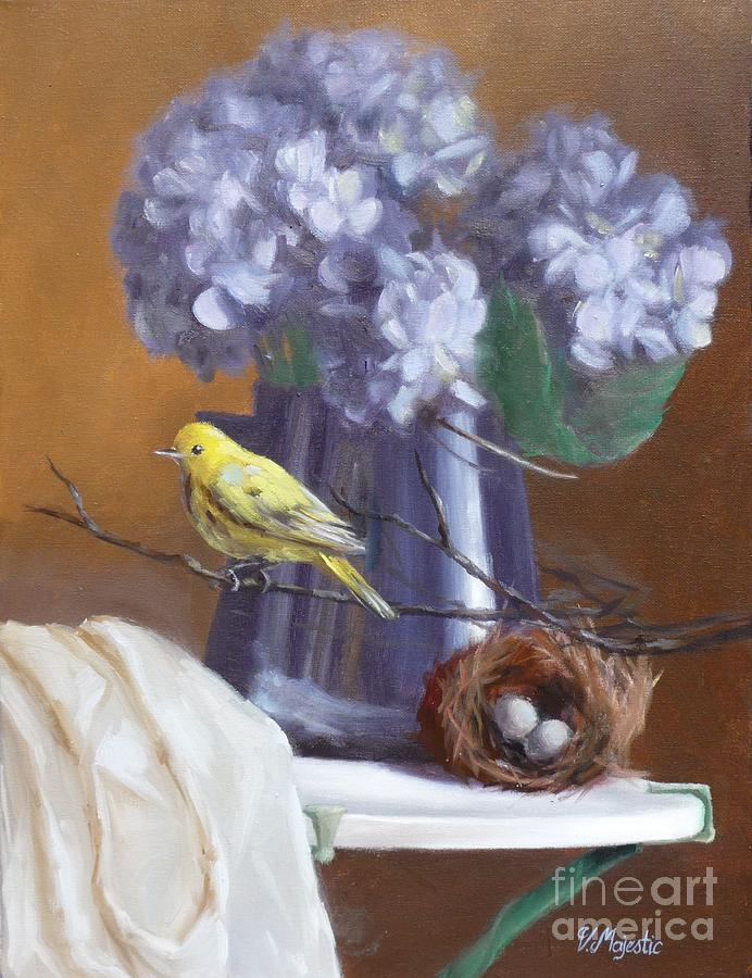 Blue Hydrangeas And Yellow Finch Painting  - Blue Hydrangeas And Yellow Finch Fine Art Print