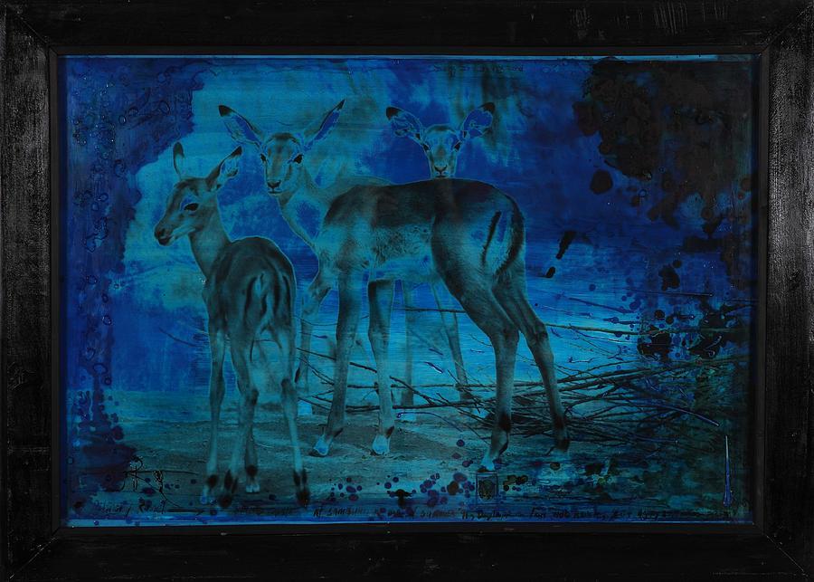Scenic Impala Landscape Mixed Media - Blue Impala by Anthony Russell