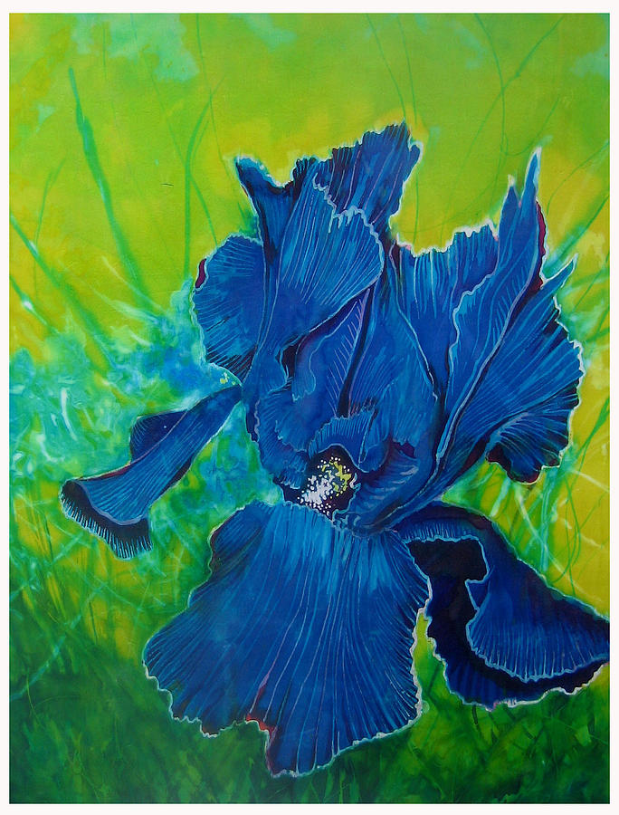 blue iris painting by ferril nawir. Black Bedroom Furniture Sets. Home Design Ideas