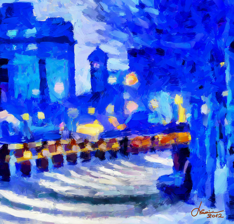 Blue January Night In The City Tnm Digital Art  - Blue January Night In The City Tnm Fine Art Print