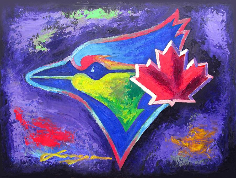Blue Jays Portrait Painting  - Blue Jays Portrait Fine Art Print