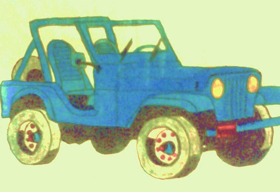 Blue Jeep Drawing  - Blue Jeep Fine Art Print