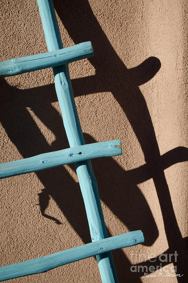 Blue Ladder And Shadow Photograph  - Blue Ladder And Shadow Fine Art Print