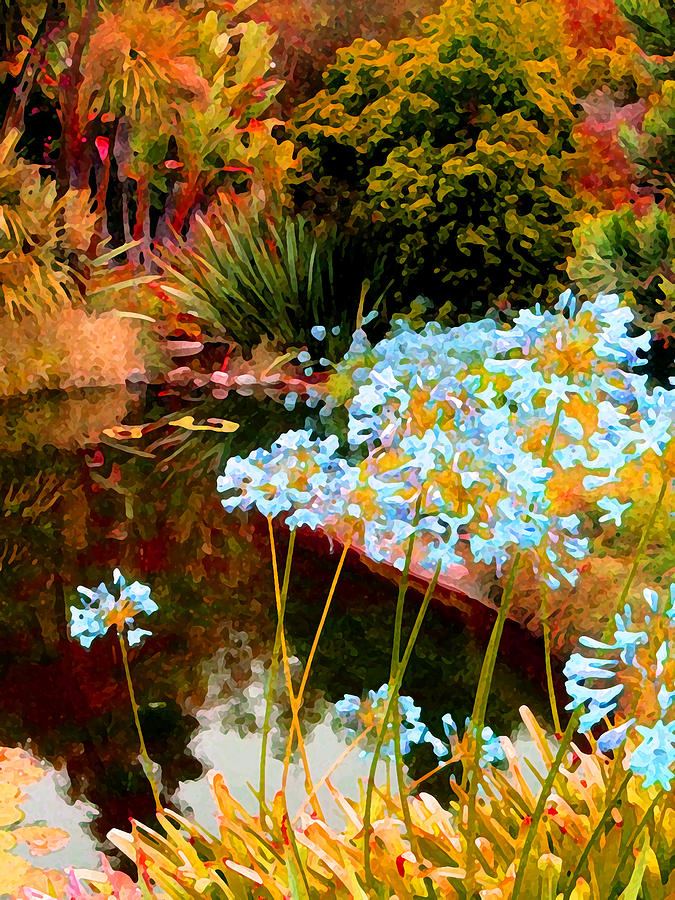 Blue Lily Water Garden Painting  - Blue Lily Water Garden Fine Art Print