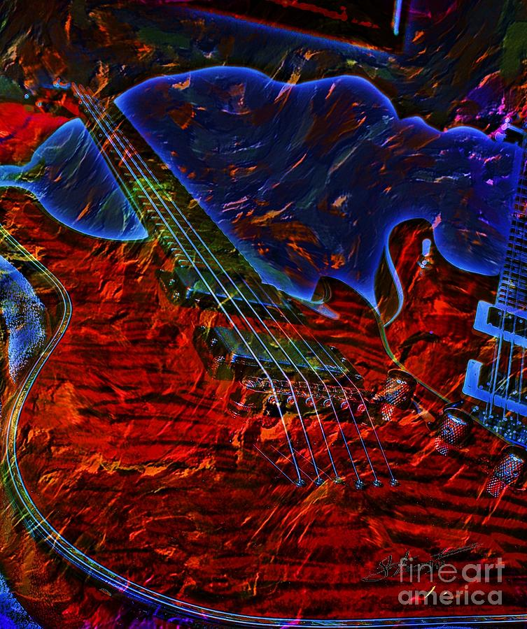 Blue Magic Digital Guitar Art By Steven Langston Photograph  - Blue Magic Digital Guitar Art By Steven Langston Fine Art Print