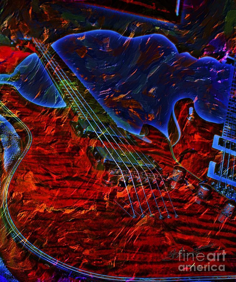 Blue Magic Digital Guitar Art By Steven Langston Photograph