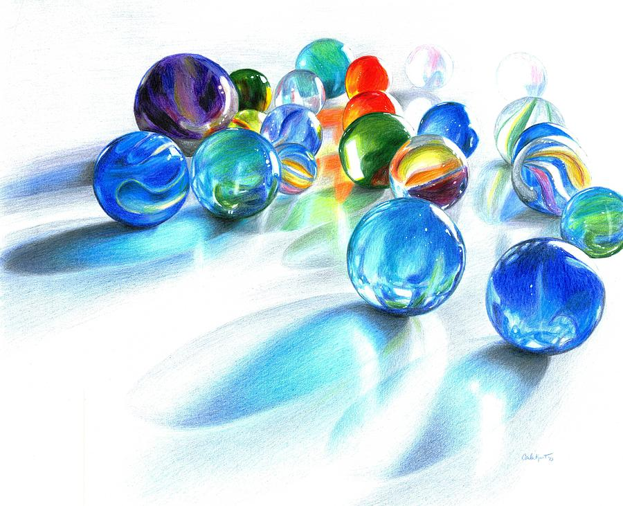 Colored Pencil Drawings Of Marbles : Blue marble reflections glass art by carla kurt