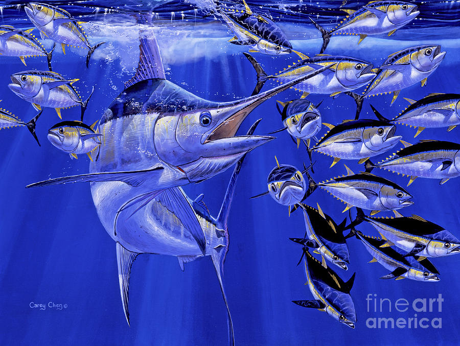 Blue Marlin Round Up Off0031 Painting  - Blue Marlin Round Up Off0031 Fine Art Print