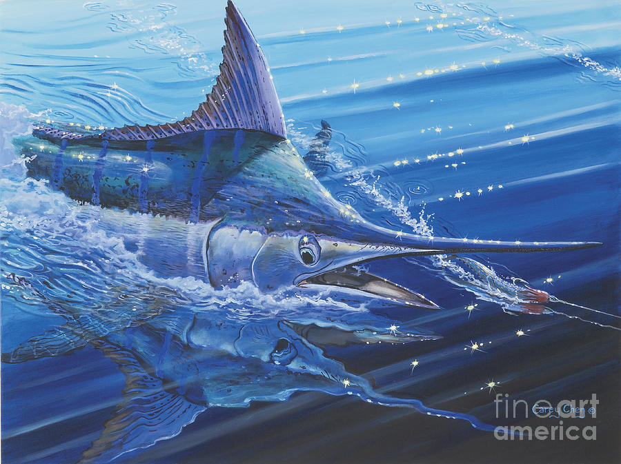 Blue Marlin Strike Painting  - Blue Marlin Strike Fine Art Print
