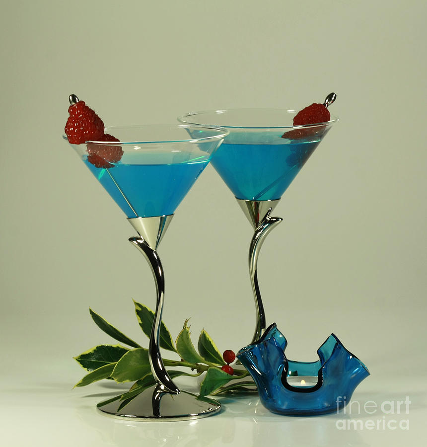 Blue Moon Curacao Cocktails For Two Photograph