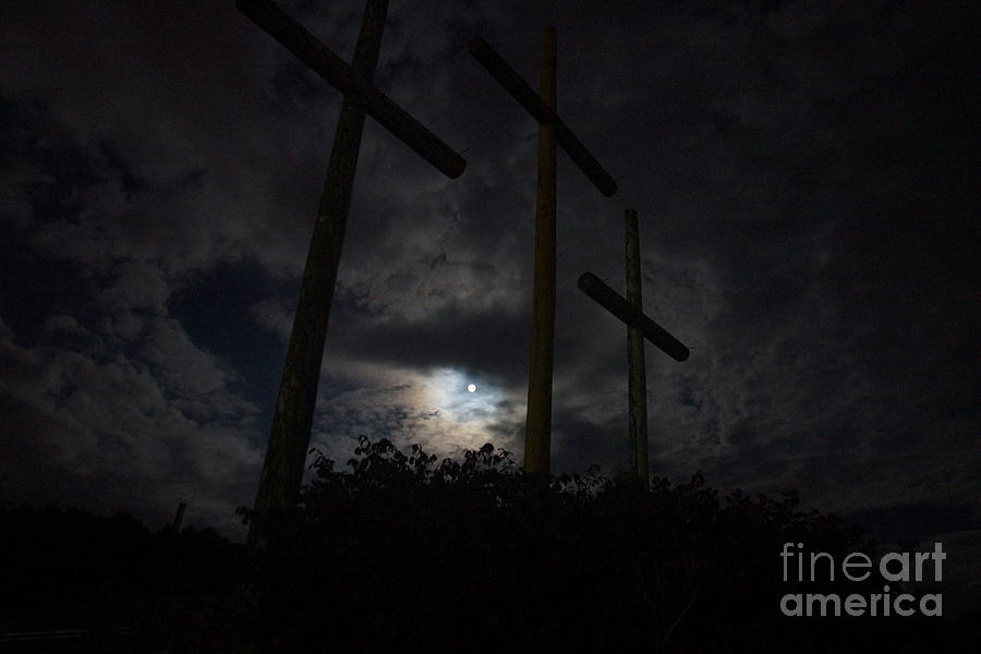 Blue-moon Lights Crosses Of Mercy Photograph  - Blue-moon Lights Crosses Of Mercy Fine Art Print
