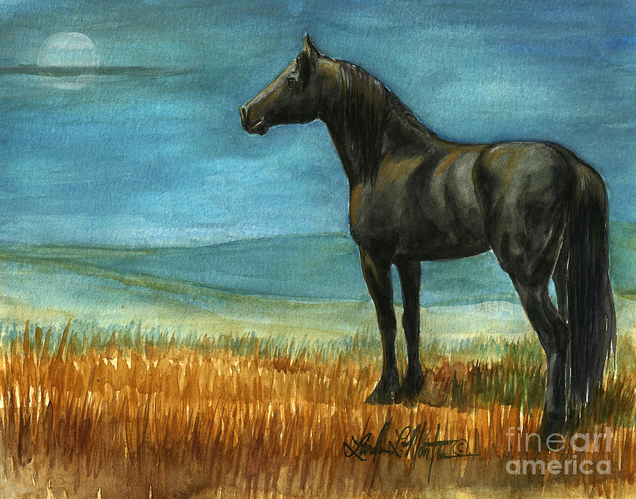 Wild Horses Painting - Blue Moon by Linda L Martin