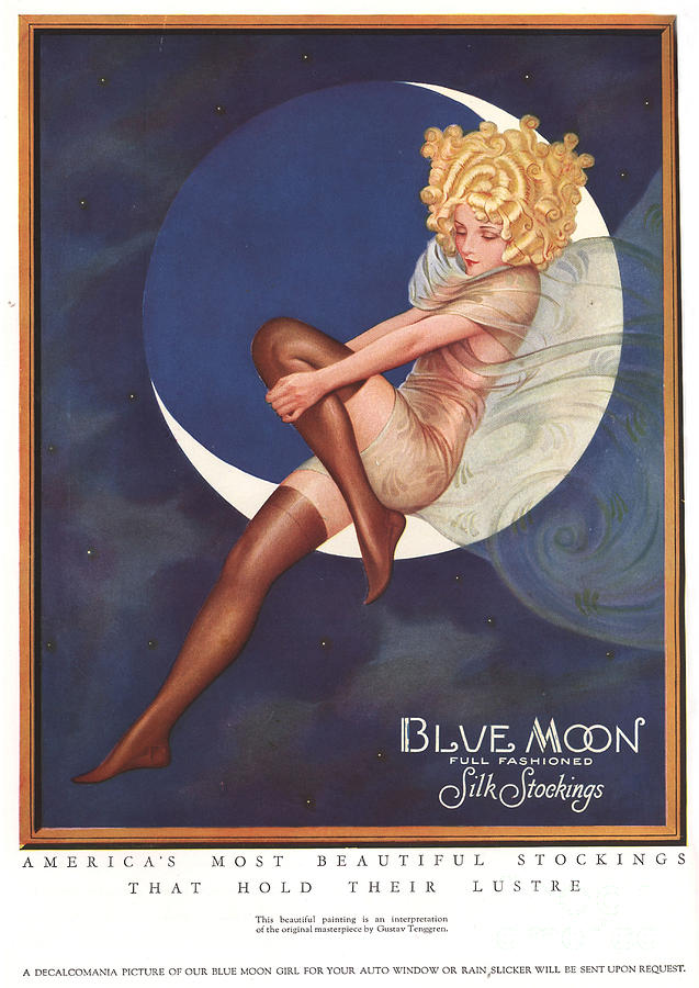 Blue Moon Silk Stockings 1920s Usa Drawing  - Blue Moon Silk Stockings 1920s Usa Fine Art Print