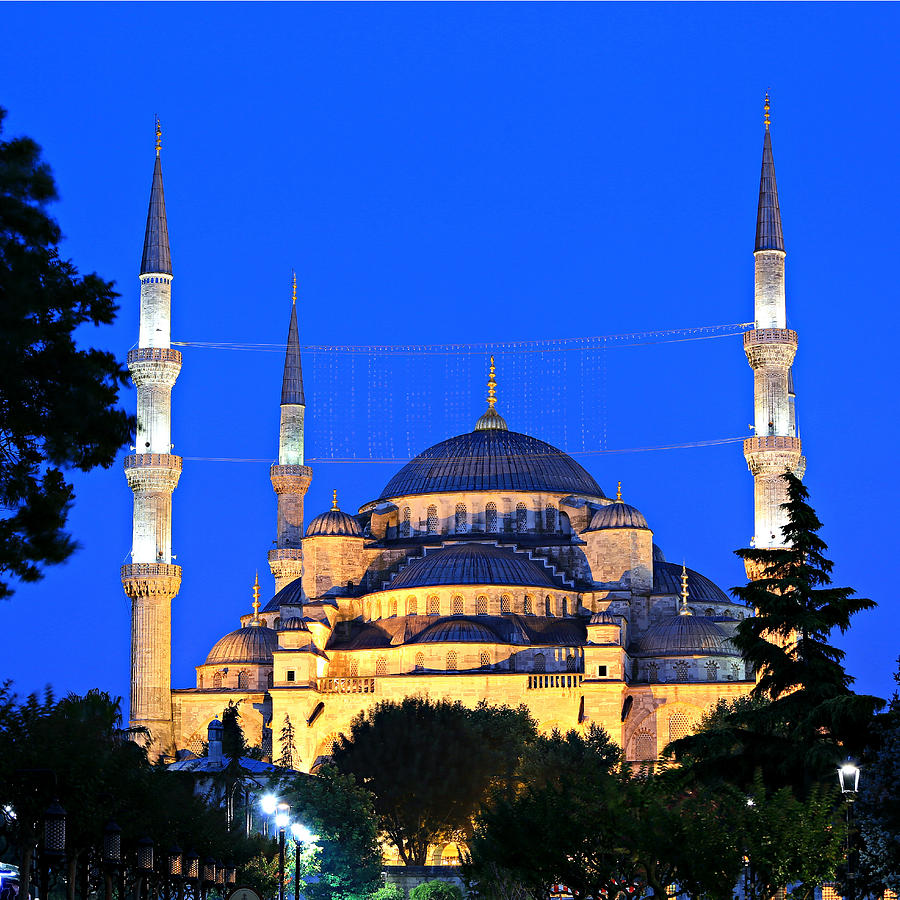 Ancient Photograph - Blue Mosque At Dawn by Stephen Stookey