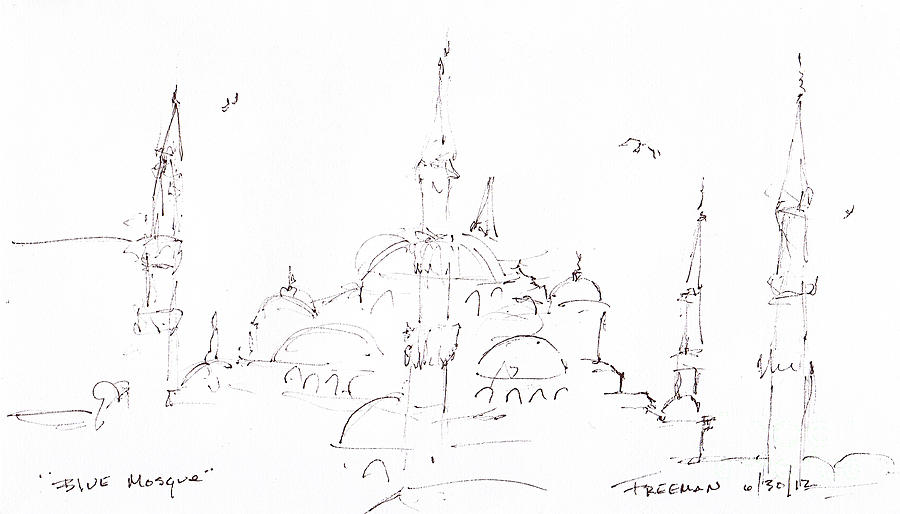 Crystal Cruises Drawing - Blue Mosque by Valerie Freeman