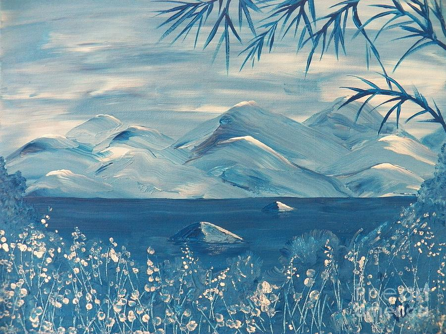 Blue Painting - Blue Mountains by Judy Via-Wolff