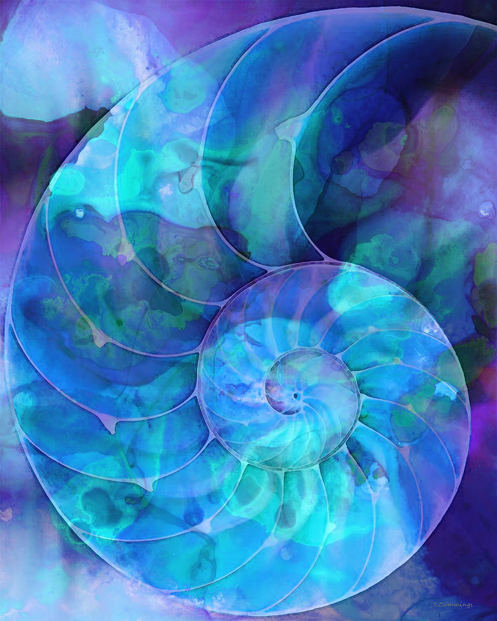 Blue Nautilus Shell By Sharon Cummings Painting  - Blue Nautilus Shell By Sharon Cummings Fine Art Print