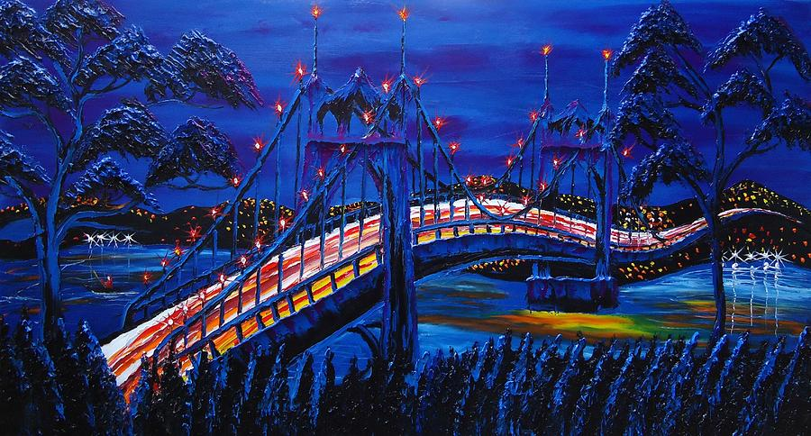 Blue Night Of St. Johns Bridge #14 Painting  - Blue Night Of St. Johns Bridge #14 Fine Art Print