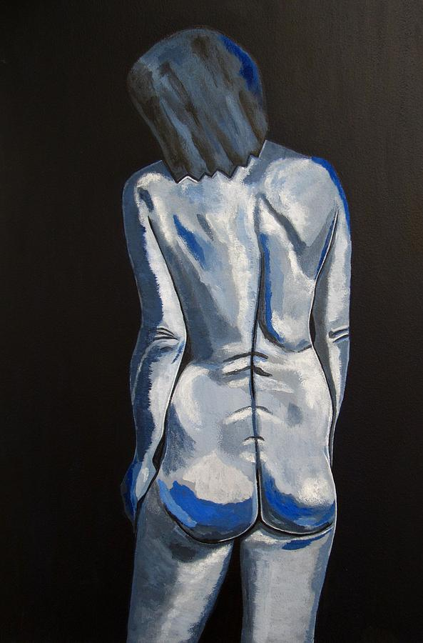 Nude Painting Painting - Blue Nude Self Portrait by Sandra Marie Adams