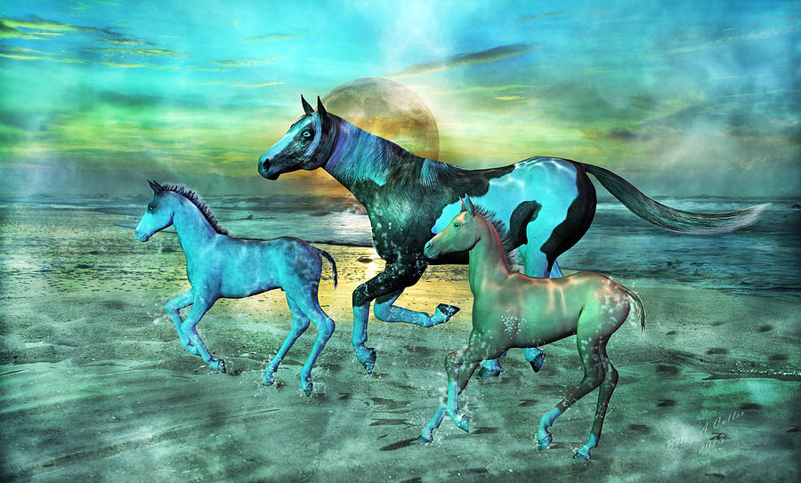 Blue Ocean Horses Mixed Media