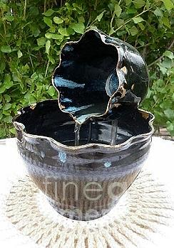 Blue On Black Pottery Water Faountain Sculpture