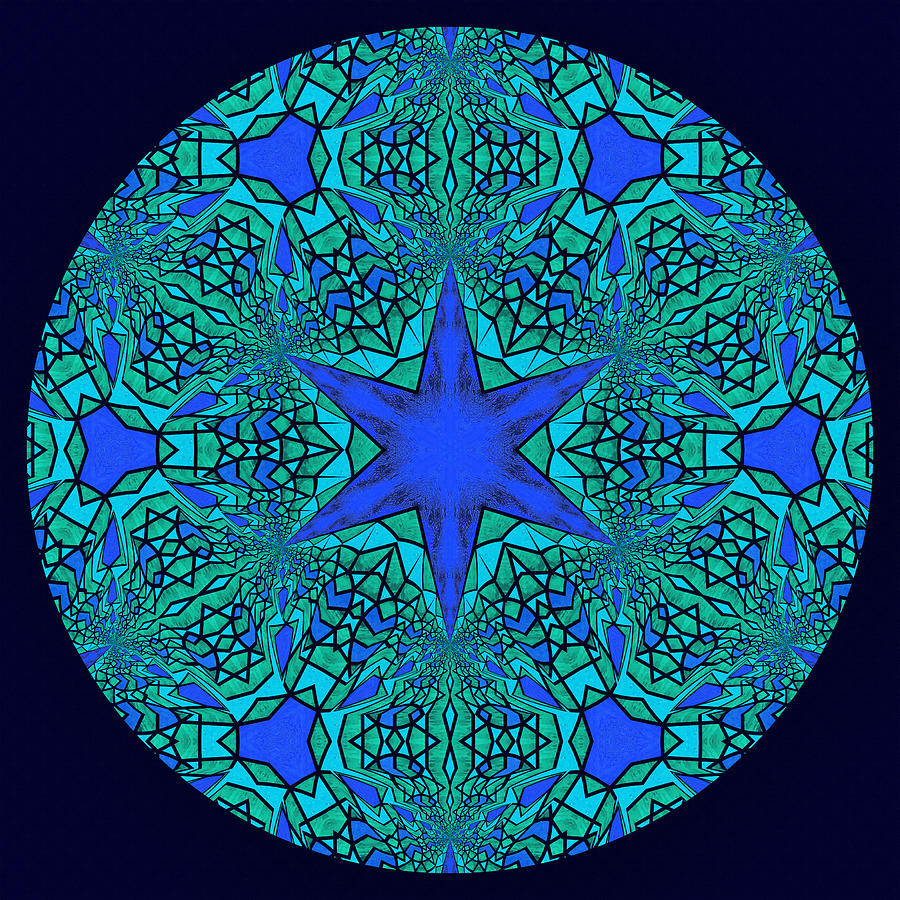 Blue Ornamental Mandala Digital Art  - Blue Ornamental Mandala Fine Art Print
