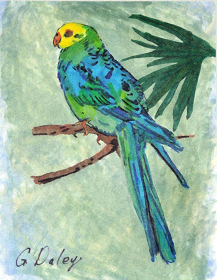 Blue Parakeet Painting
