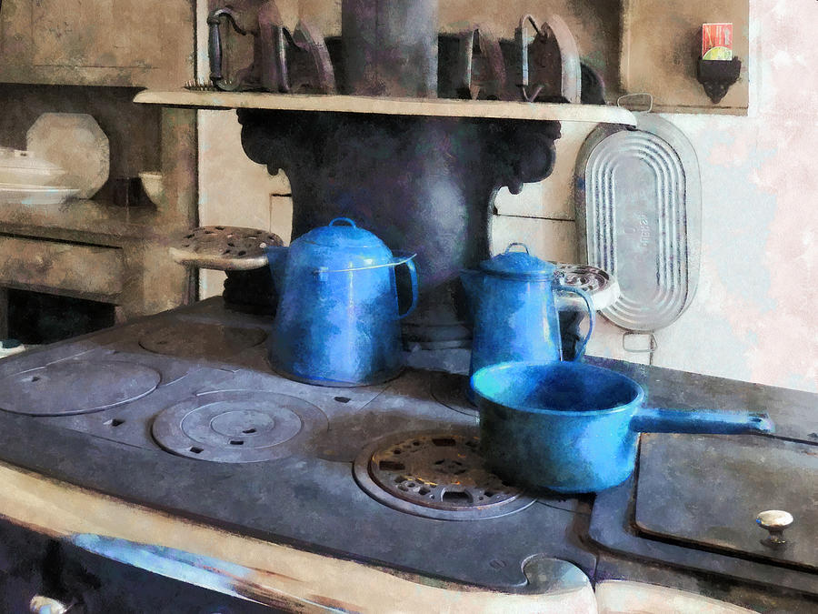 Blue Pots On Stove Photograph