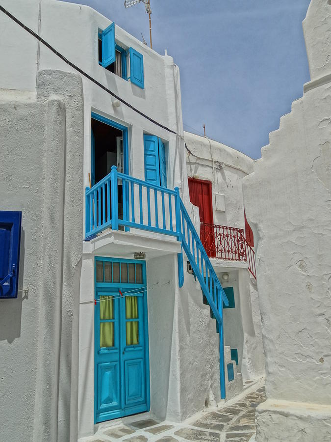 Blue Railing With Stairway In Mykonos Greece Photograph
