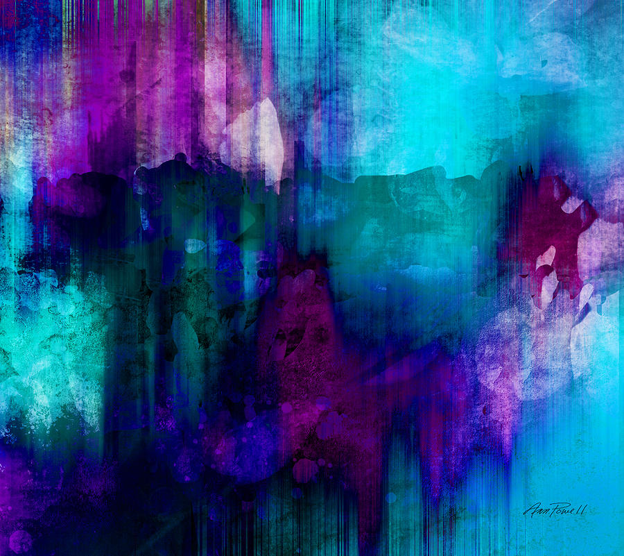 Blue Rain Abstract Art Painting by Ann Powell
