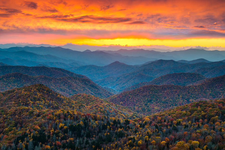 Blue Ridge Parkway Fall Sunset Landscape - Autumn Glory Photograph