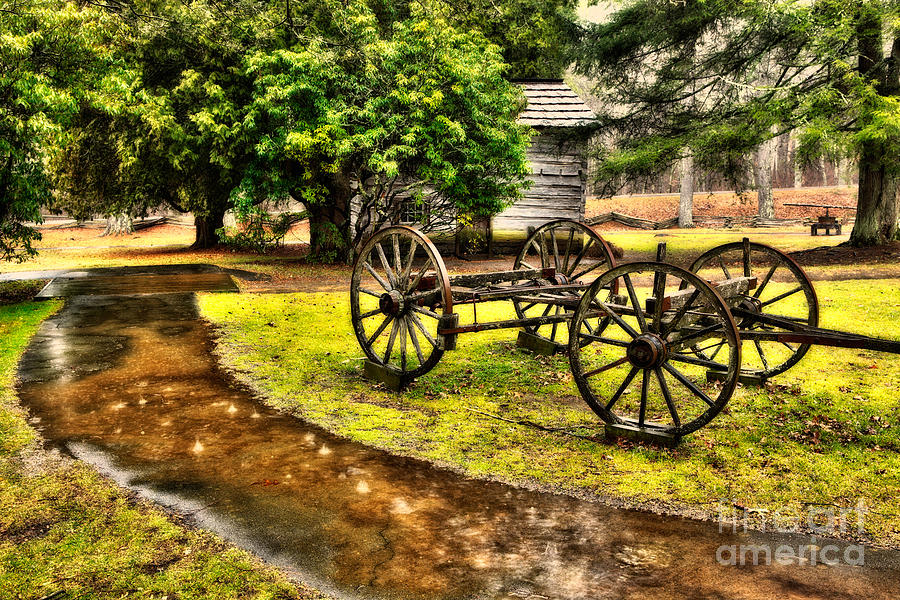 Blue Ridge Parkway Vintage Wagon In The Rain II Painting  - Blue Ridge Parkway Vintage Wagon In The Rain II Fine Art Print