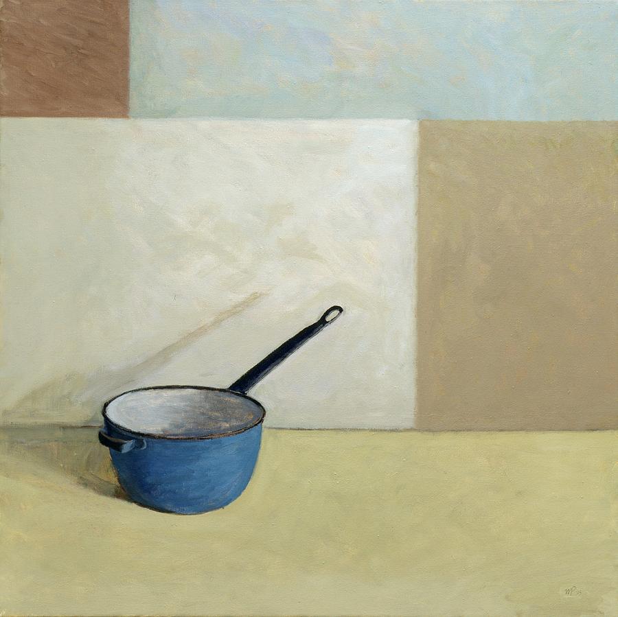 Enamel Painting - Blue Saucepan by William Packer
