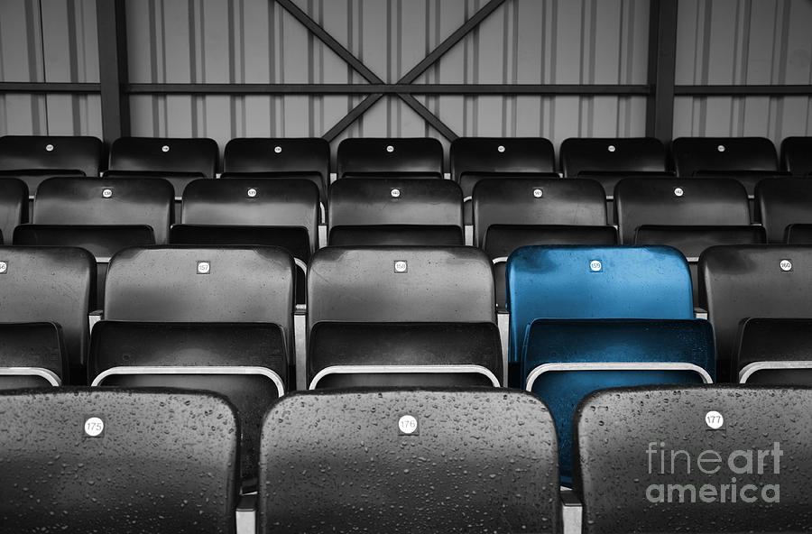 Blue Seat In The Football Stand Photograph  - Blue Seat In The Football Stand Fine Art Print