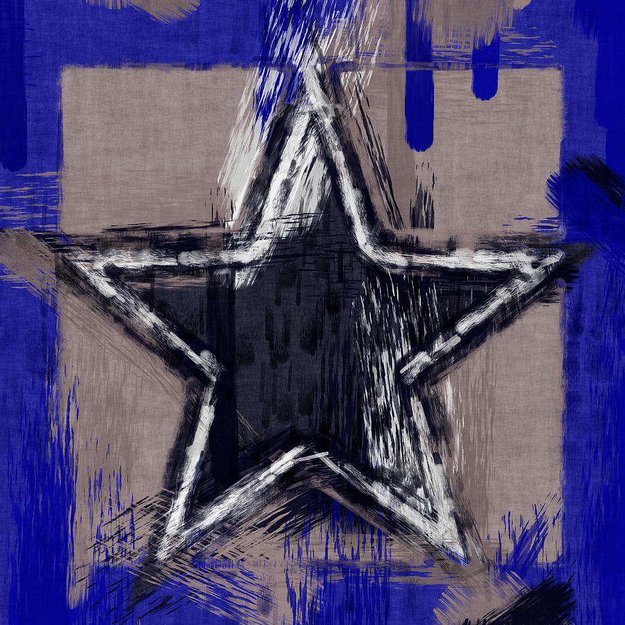 Blue Star Abstract Digital Art  - Blue Star Abstract Fine Art Print