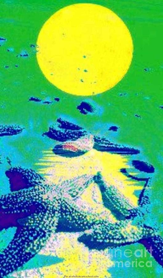 Blue Starfish Yellow Moon Painting By Painterartist Fin