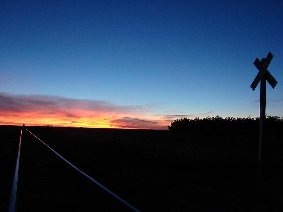 Blue Sunrise Over The Tracks Photograph