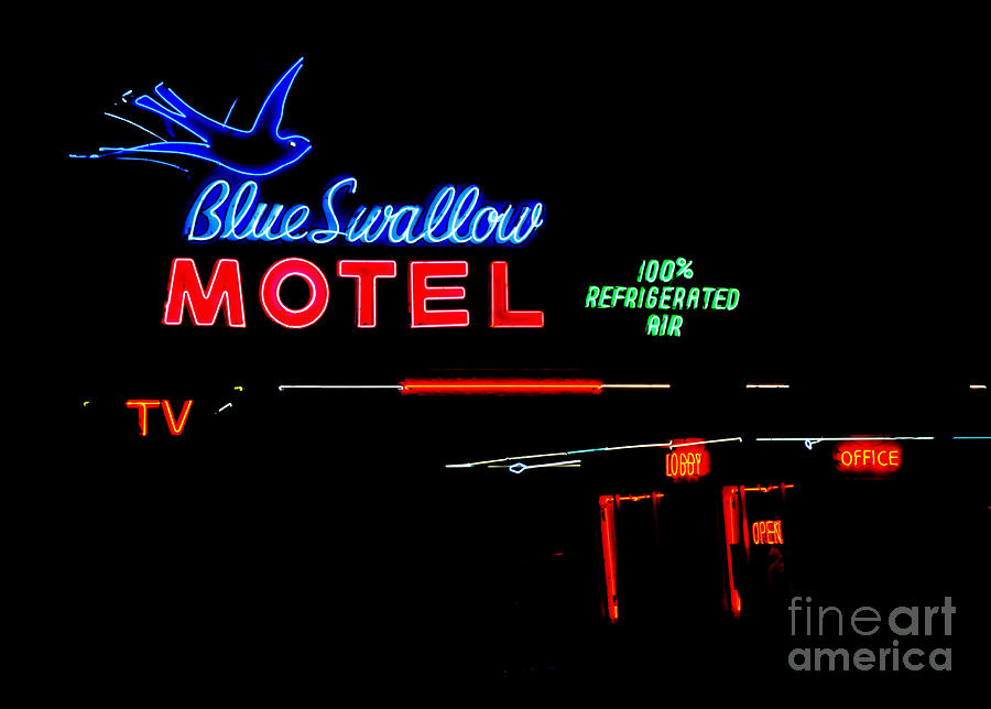 Blue Swallow Motel Neon Sign Photograph