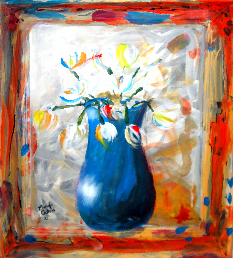 Vase Painting - Blue Thing by Marcello Cicchini