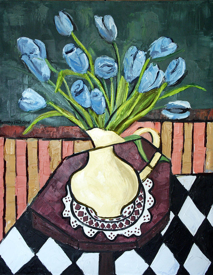 Blue Tulips On Octagon Table Framed Prints Painting - Blue Tulips On Octagon Table by Anthony Falbo