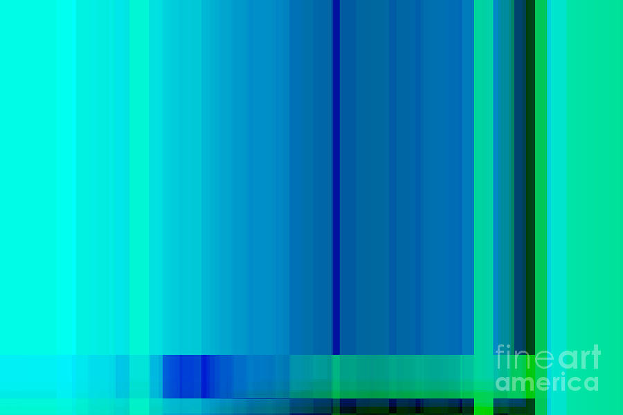 Blue turquoise green lines abstract digital art by natalie - Is turquoise green or blue ...