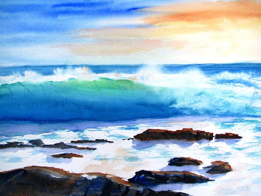 Blue Water Wave Crashing On Rocks Painting By Carlin Blahnik