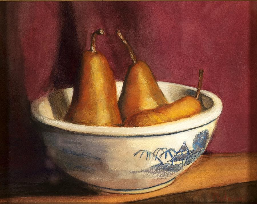Three Pears Pastel - Blue Willow With Pears by Cindy Plutnicki