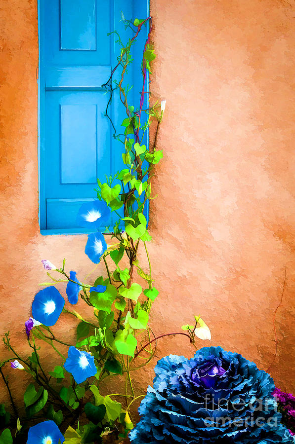 Blue Window - Painted Photograph