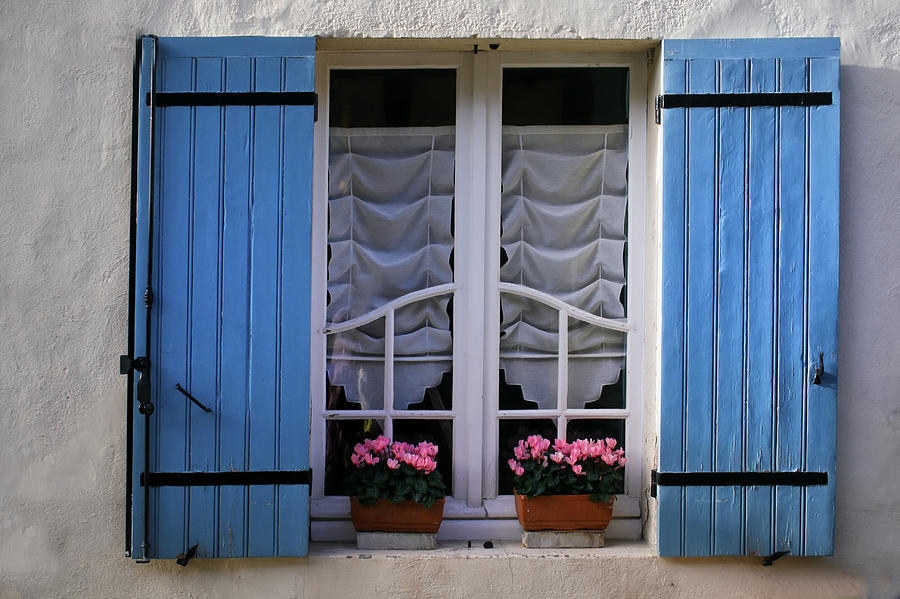 Blue Shutters Photograph - Blue Window Shutters by Georgia Fowler