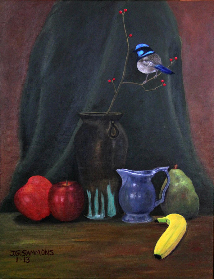 Blue Wren And Fruit Painting  - Blue Wren And Fruit Fine Art Print