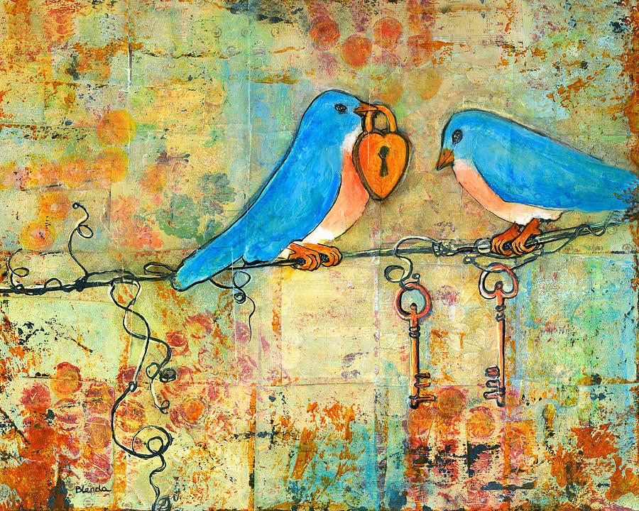 Bluebird Painting - Bluebird Painting - Art Key To My Heart by Blenda Studio