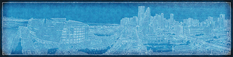 Blueprint Of Downtown Miami Photograph