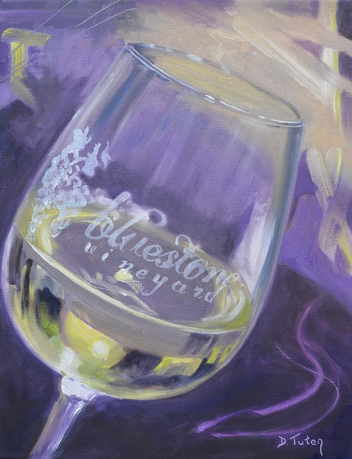 Bluestone Vineyard Wineglass Painting  - Bluestone Vineyard Wineglass Fine Art Print